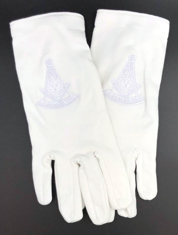Cotton Gloves with Past Master Emblem - All White