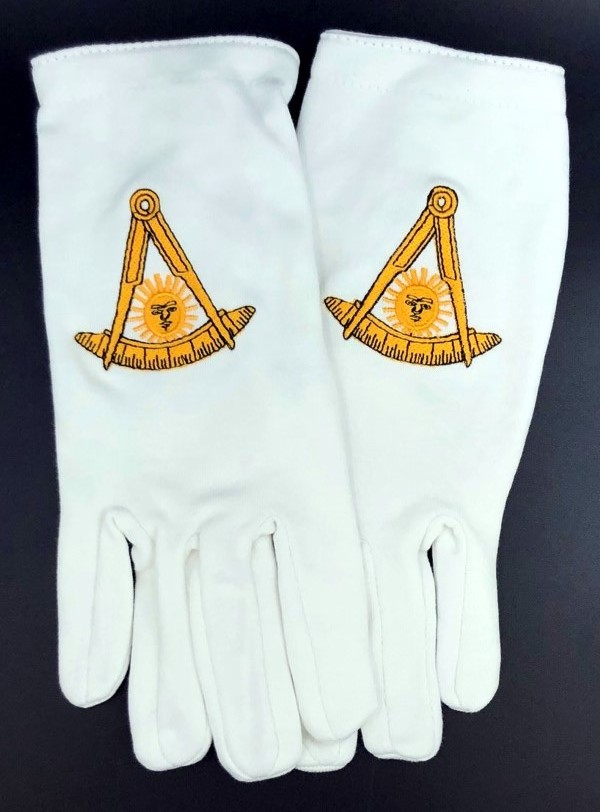 Cotton Gloves with Past Master Emblem - No Square