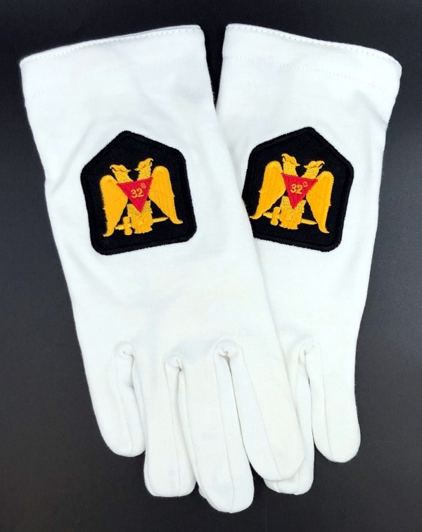 Cotton Gloves with 32nd Degree Eagle Emblem - Version 2