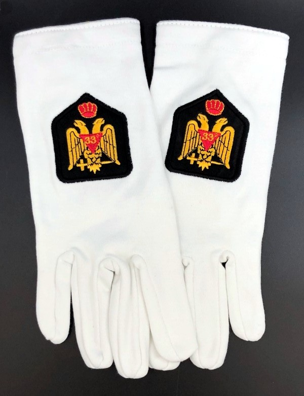 Cotton Gloves with 33rd Degree Eagle Emblem - Wings Down
