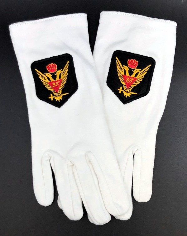 Cotton Gloves with 33rd Degree Eagle Emblem - Wings Up