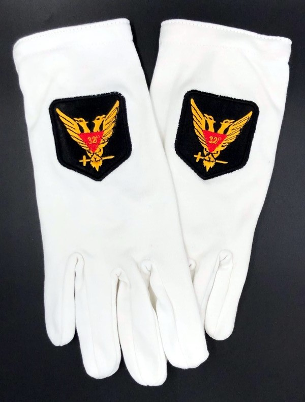 Cotton Gloves with 32nd Degree Eagle Emblem - Wings Up
