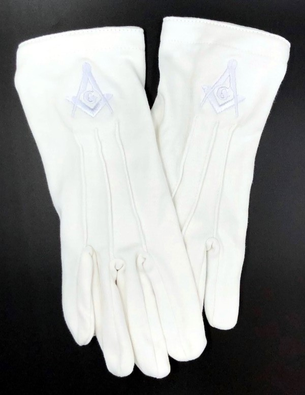 Cotton Gloves with Masonic Emblem - All White