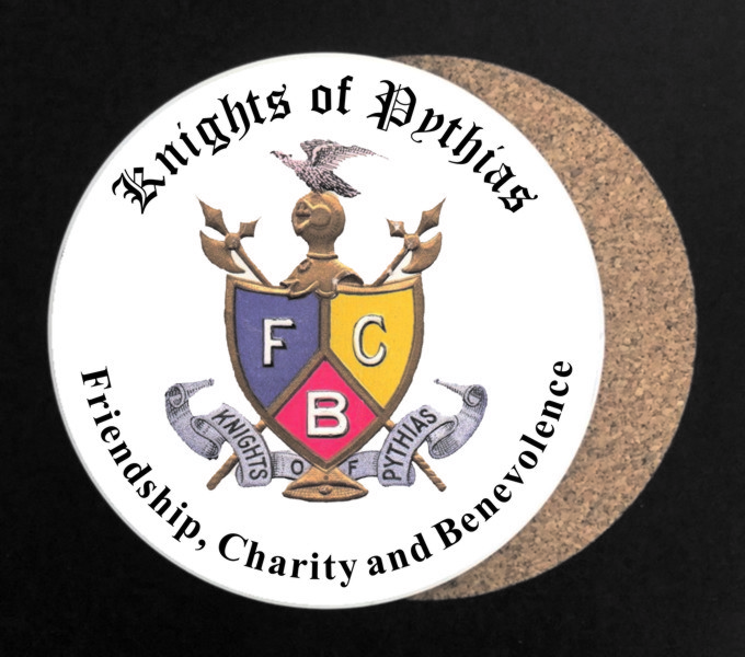 Knights of Pythias Vintage Emblem Full Color Drink Coaster - Round