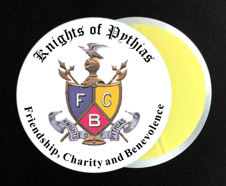 Knights of Pythias Vintage Full Color Aluminum Auto Emblem