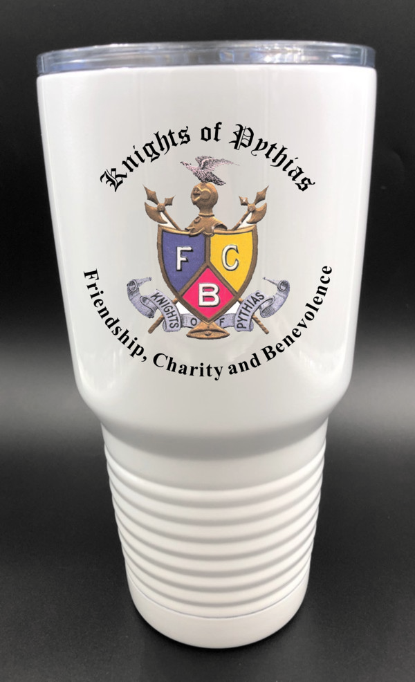 Knights of Pythias 30oz. Stainless Steel White Travel Cup (2)