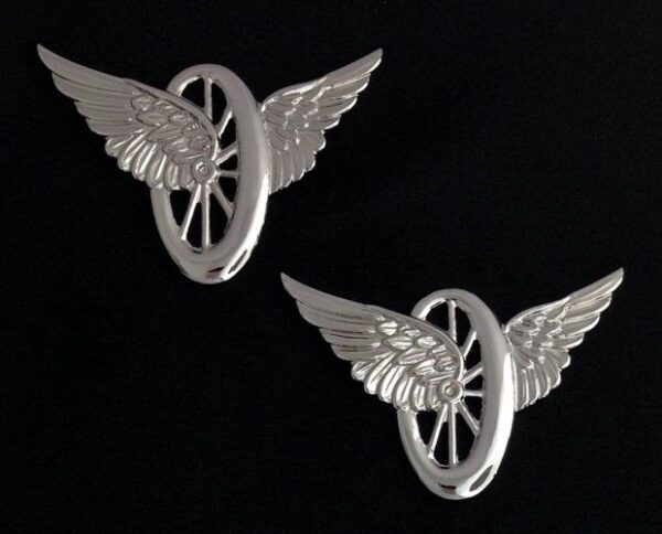 Motorcycle Wings Uniform Insignia Silver New