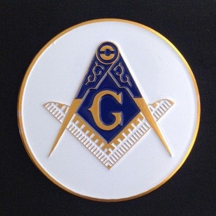 Masonic Auto Emblem White New For Sale