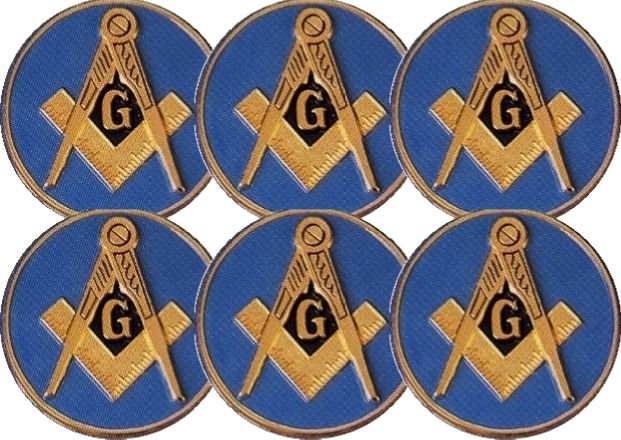 6 Masonic Car Auto Emblems (Light Blue)