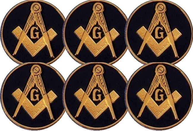6 Masonic Car Auto Emblems (Dark Blue)