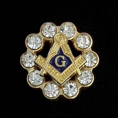 Masonic Square & Compasses with Crystals Lapel Pin
