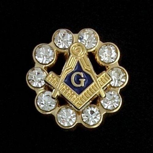 Masonic Lapel Pin Rhinestones Gold New