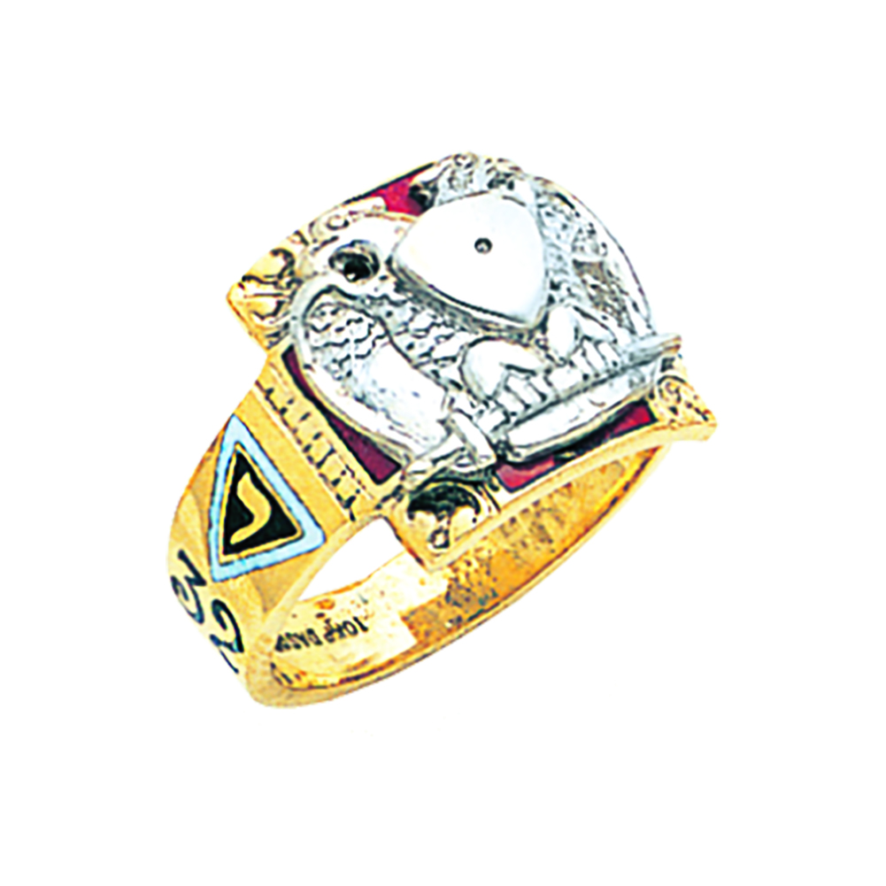 Scottish Rite Ring Mounting - Partial Solid Back in 10K Gold