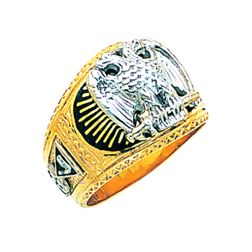 Scottish Rite Ring - Solid Back in 10K Gold