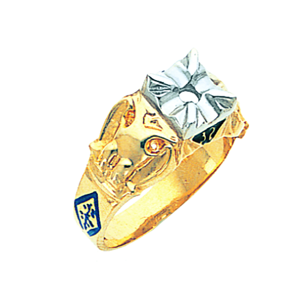 Scottish Rite Solitaire Ring Mounting - Open Back in 10K Gold
