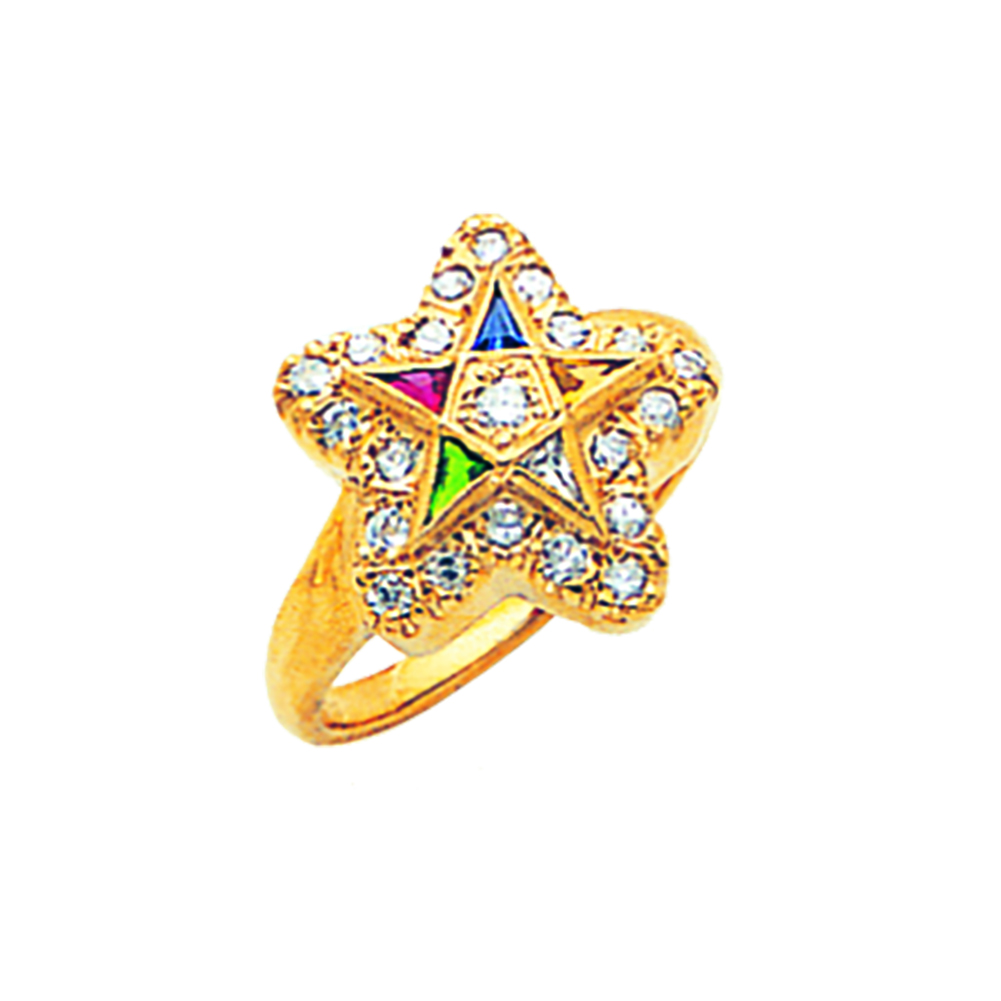 Eastern Star Ring w/Diamonds - 10K Gold