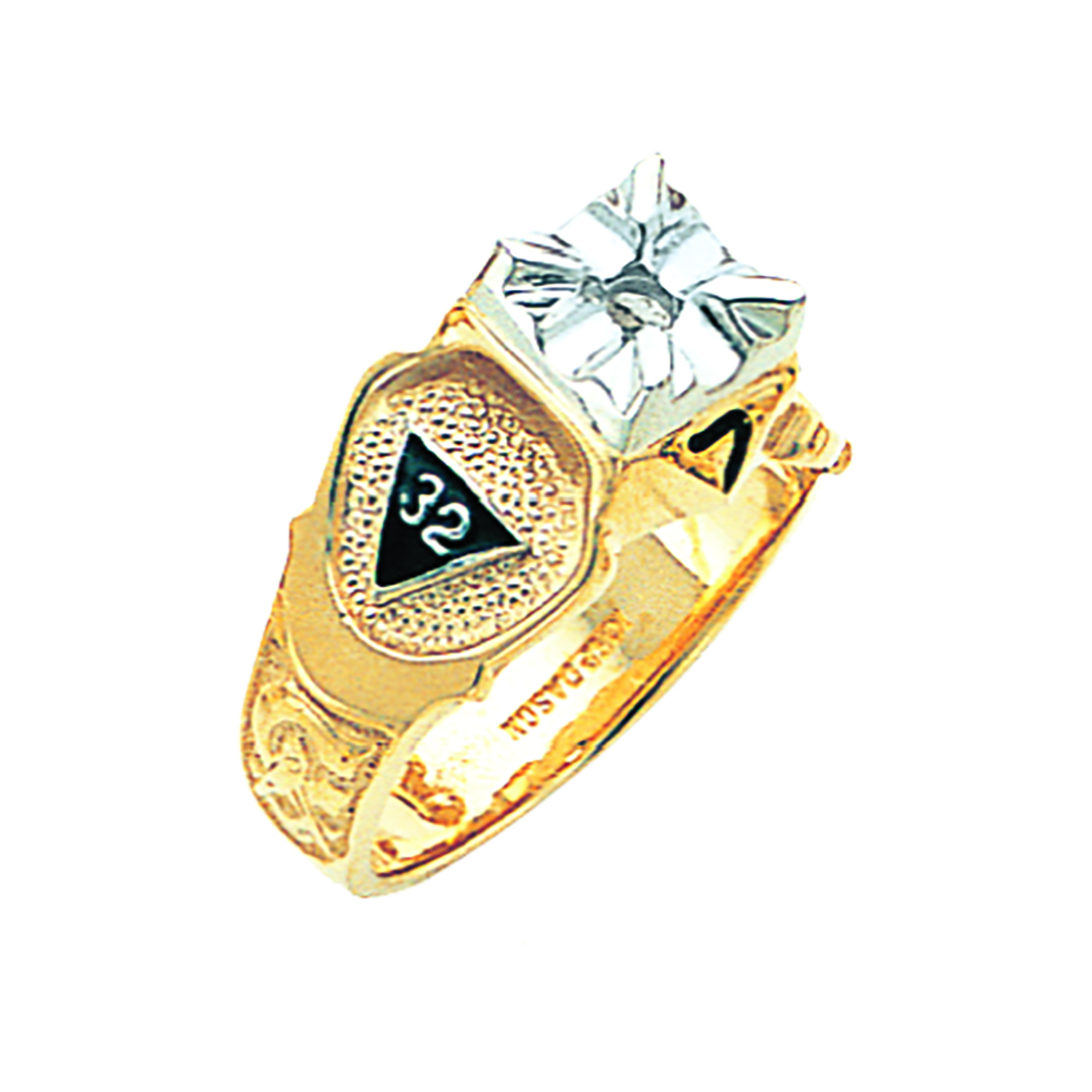 Scottish Rite Solitaire Ring Mounting - Partial Solid Back in 10K Gold