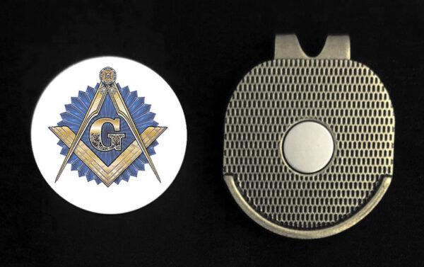 Masonic Emblem Golf Ball Marker Visor Clip New