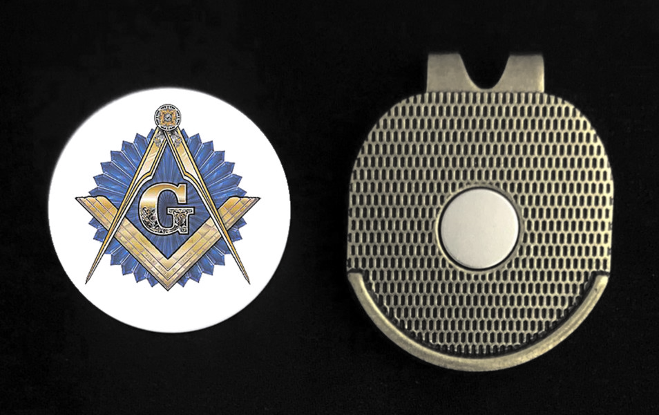 Masonic Golf Ball Marker With Magnetic Visor Clip