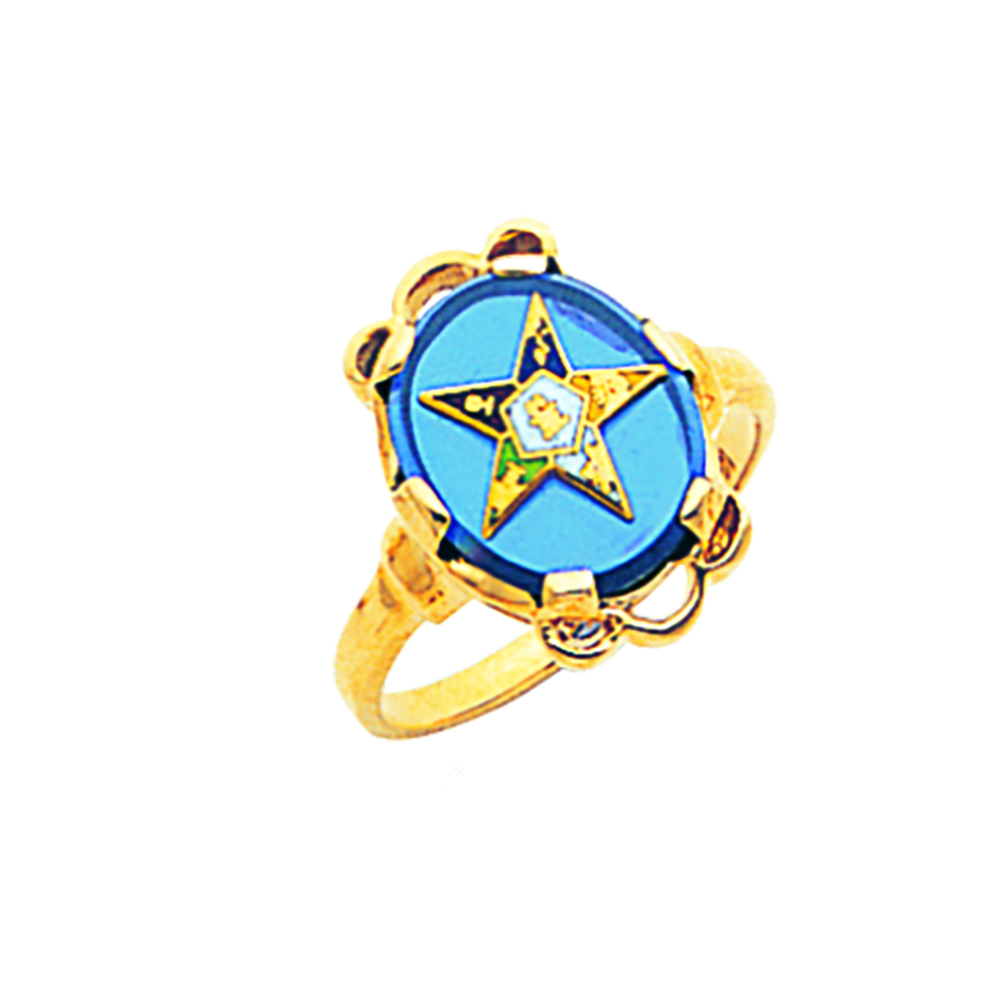 Eastern Star Ring - Blue Stone in 10K Gold