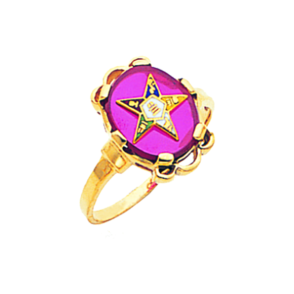 Eastern Star Ring - Red Stone in 10K Gold