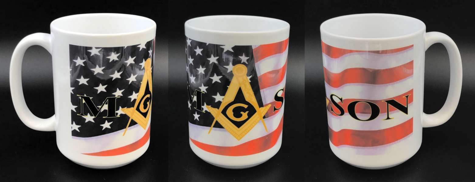 Masonic / US Flag Full Color 15oz. White Ceramic Mug