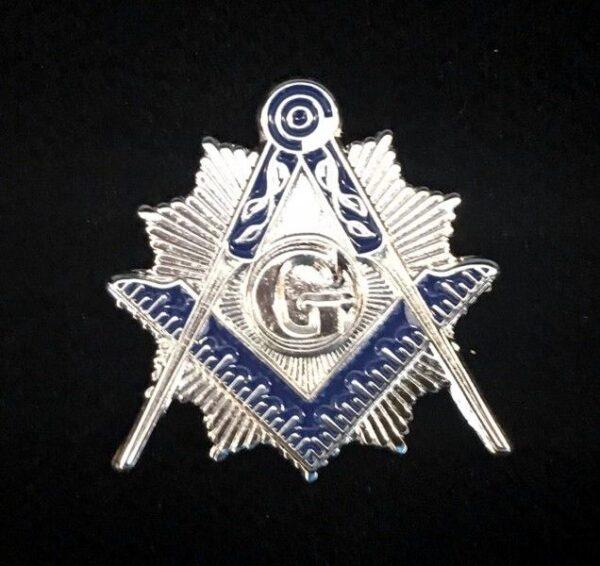 Masonic Square Compasses Lapel Pin SIlver New