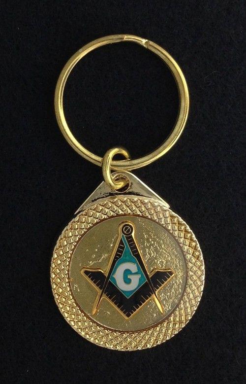Masonic Emblem Key Chain Tag Gold New