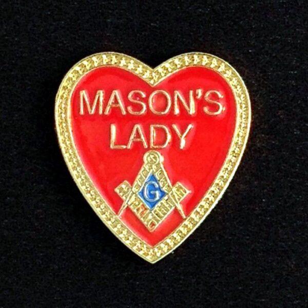 Masonic Masons Lady Heart Lapel Pin new