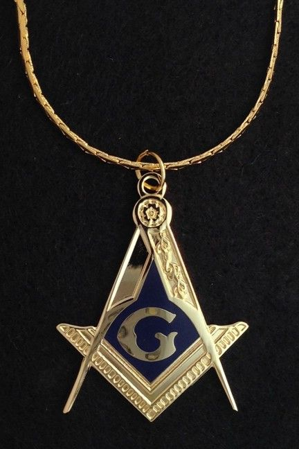 Masonic Emblem Pendant Chain Gold New