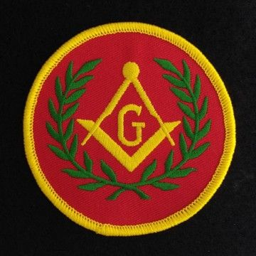 Masonic Emblem Wreath Red Embroidered Patch New