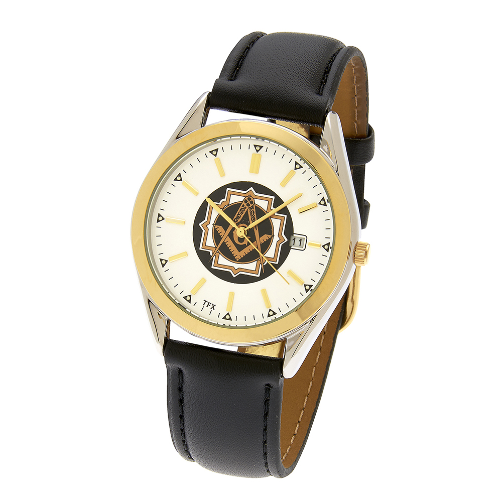 Masonic Square & Compasses TFX Watch - Brown Leather Band