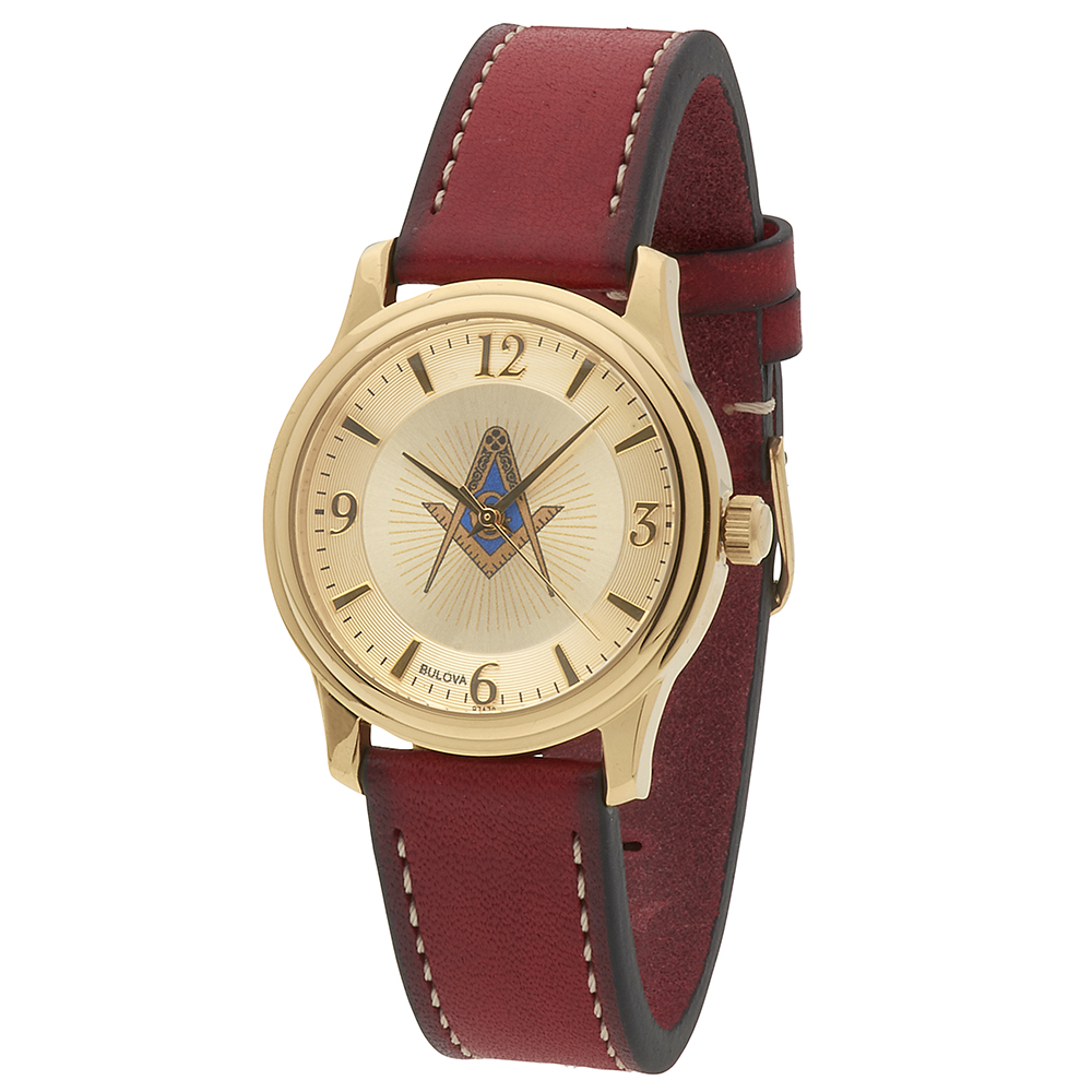 Masonic Square & Compasses Gold Dial Watch - Red Leather Band