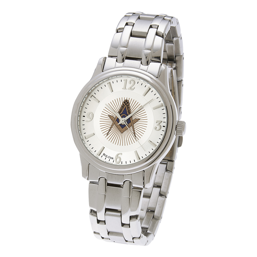 Masonic Square & Compasses White Dial Watch - Stainless Bracelet