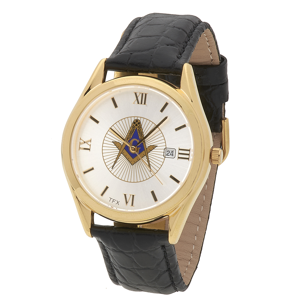 Masonic Square & Comapasses TFX Watch - Black Leather Band