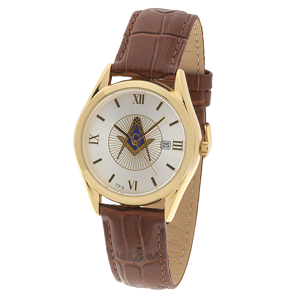 Masonic Square & Comapasses TFX Watch - Cognac Leather Band