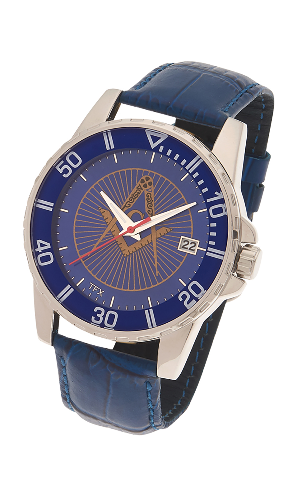 Masonic Square & Compasses TFX Watch - Blue Leather Band