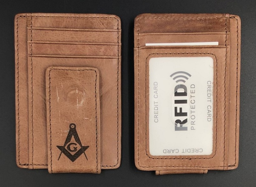 Masonic Leather Minimalist Wallet