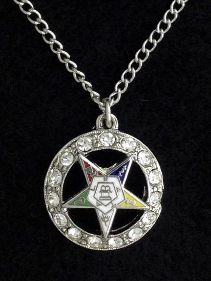 Order of the Eastern Star Rhinestone Pendant Necklace New