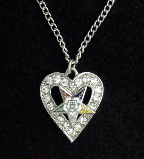 Order of the Eastern Star Heart Rhinestone Pendant Necklace New