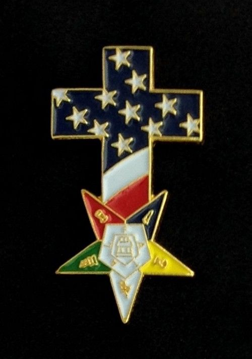 Order of the Eastern Star US Flag Cross Lapel Pin New