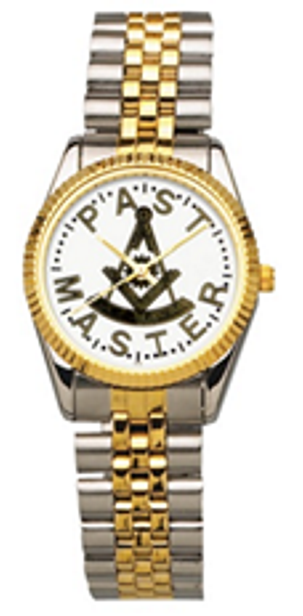 Masonic Past Master Watch with Two-Tone Bracelet (Style 2)