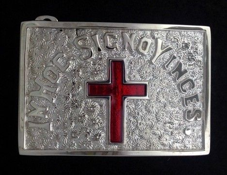 Sir Knight Belt Plate in Nickel Finish - No Rays - Click Image to Close