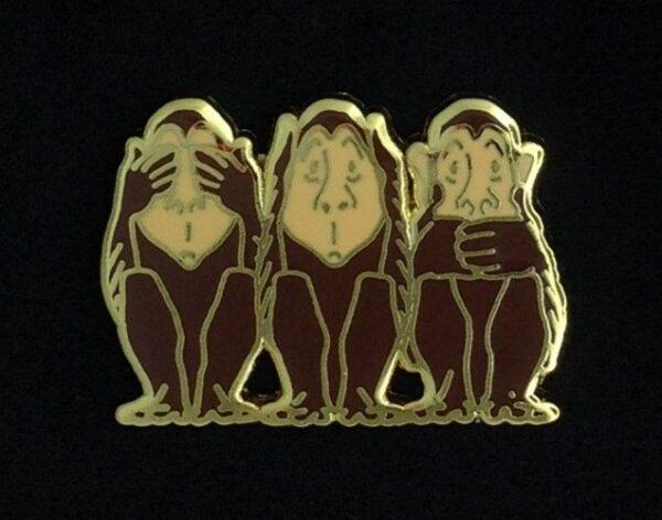 Three Wise Monkeys Lapel Pin New