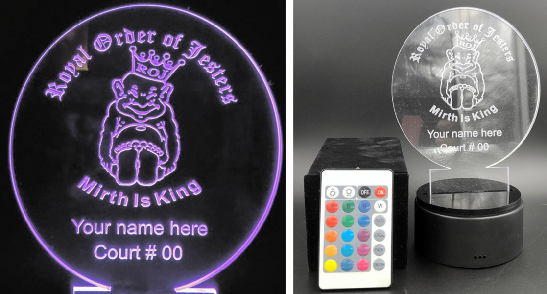Royal Order of Jesters Customized Acrylic Light-up Award