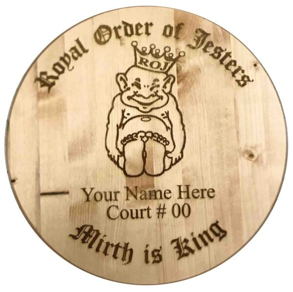 Royal Order of Jesters Engaved Barrel Lid