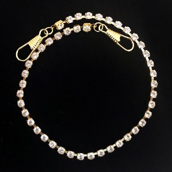 Rhinestone Chain Collar Preventer Chain in Gold Plating