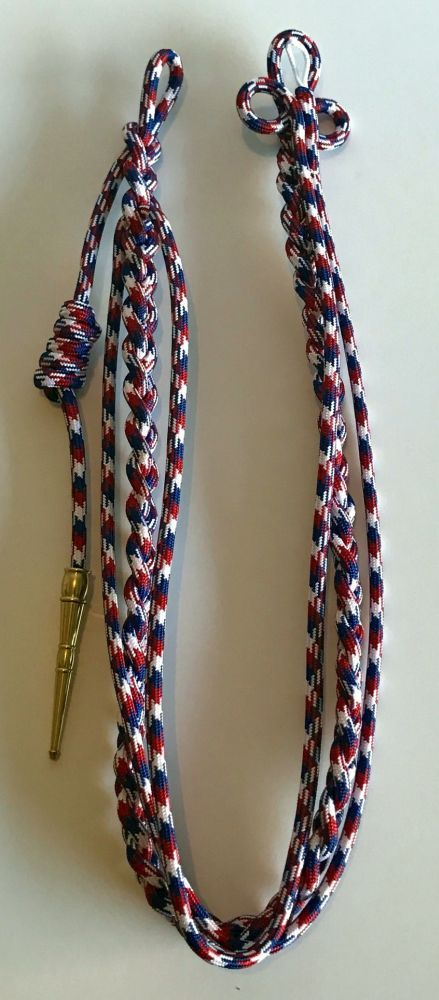 Citation Shoulder Cord With Brass Tip - Red, White and Blue (Style 2)