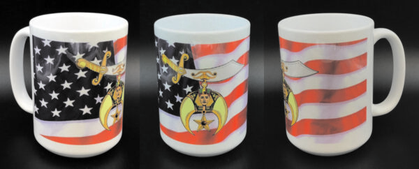 Shrine Shriner US Flag Ceramic Coffee Mug New