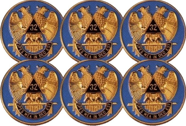 6 Scottish Rite Car Auto Emblems (Light Blue)